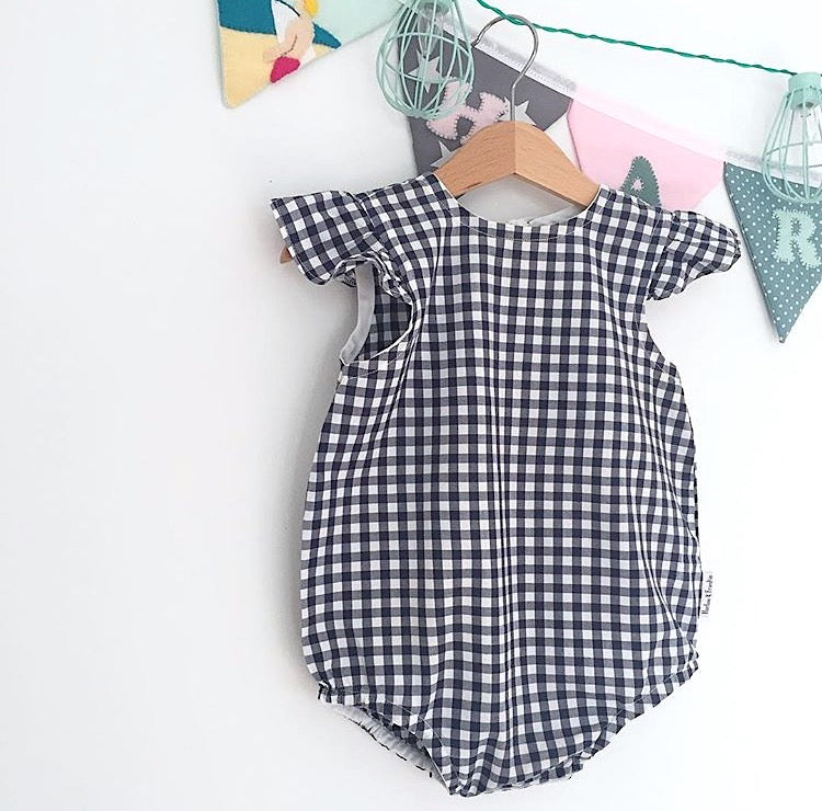 Navy Gingham Flutter Sleeve Playsuit