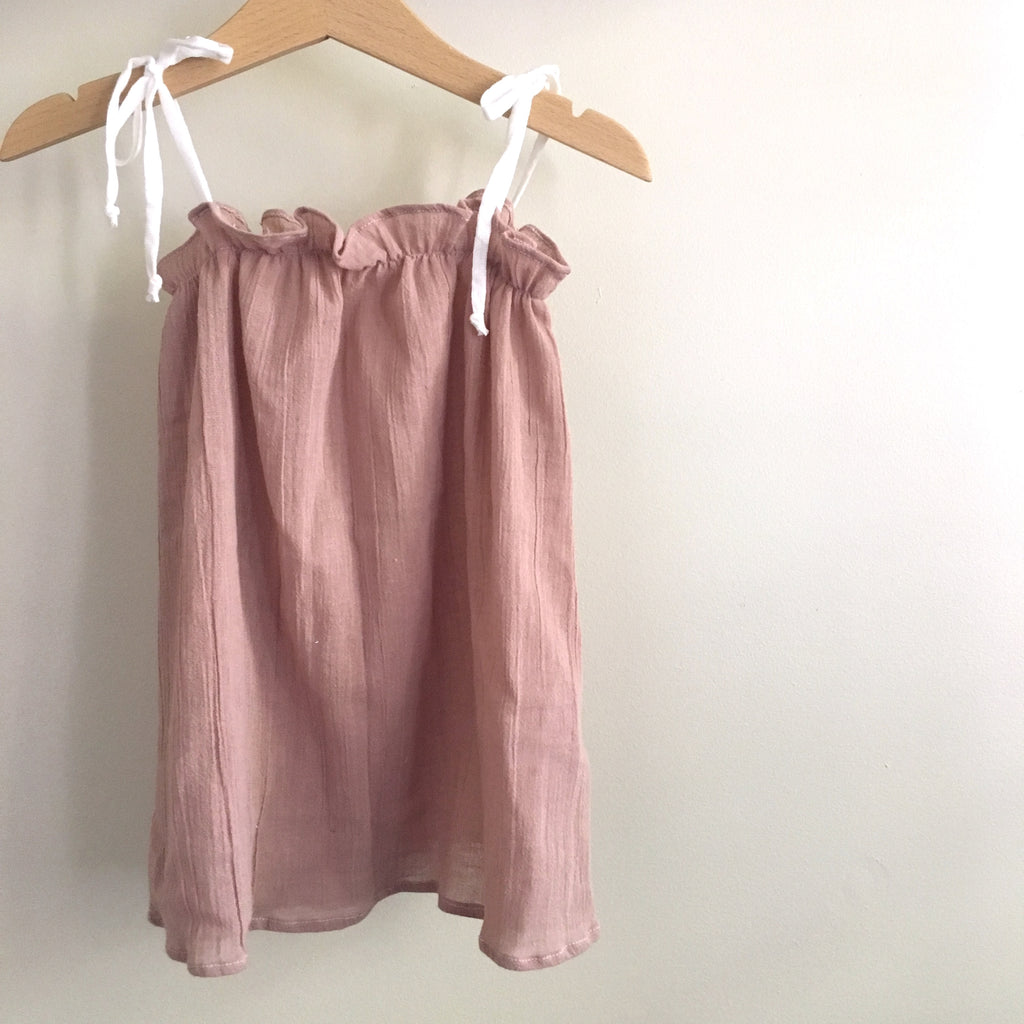Dusty Pink Basics Tie-Shoulder Dress