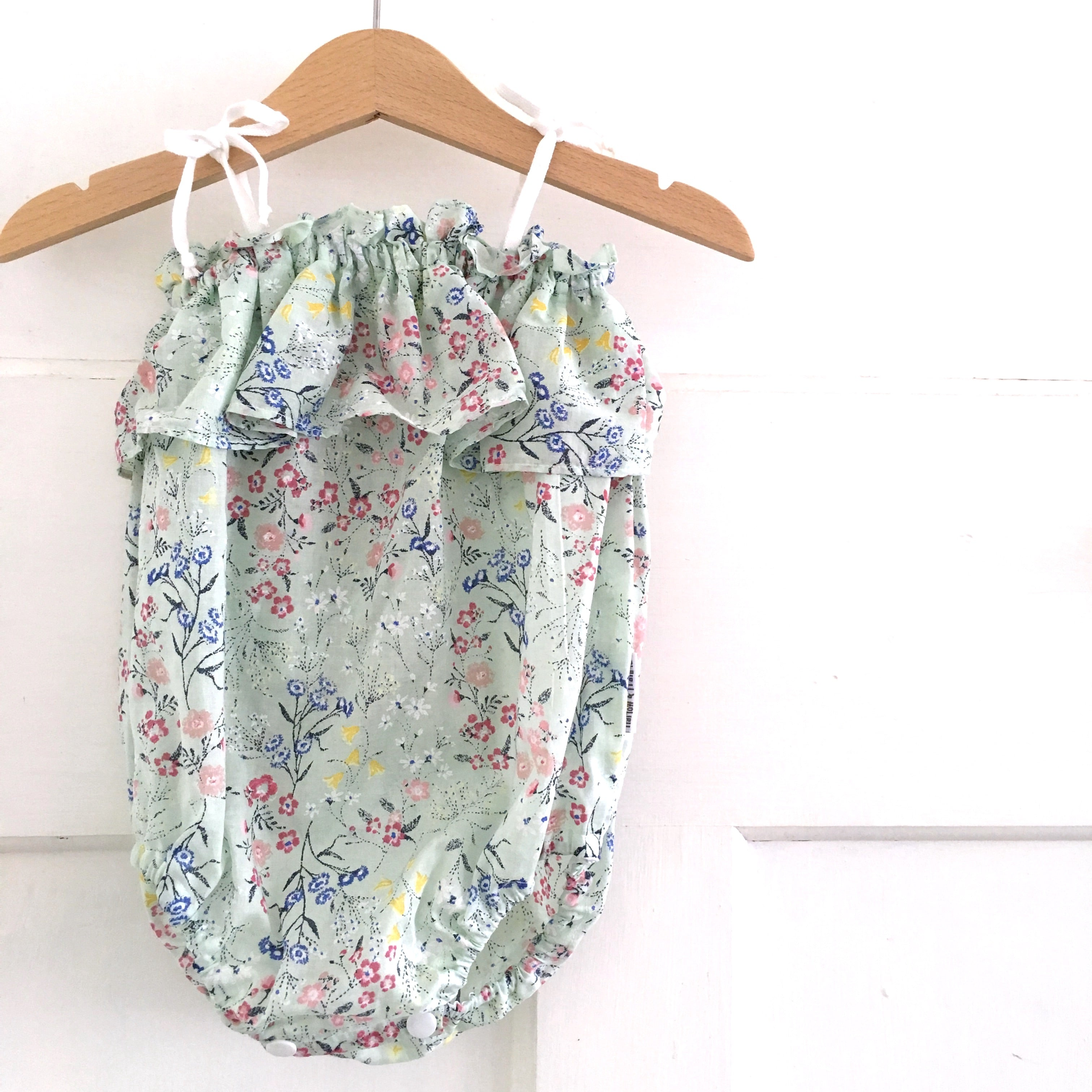 Minty Blooms Frilly Playsuit