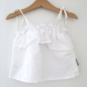 White Linen Frilly Top