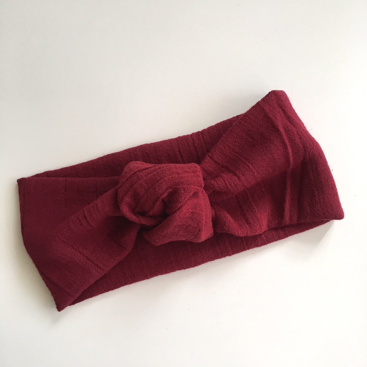 Maroon Double Gauze Twist Knot
