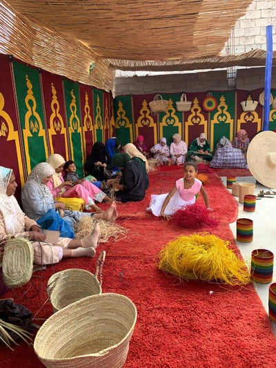 A Look Inside the Women's Basketry Cooperative Where the Maroc Collection is Made