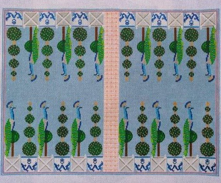Anne Fisher Needlepoint Anne Fisher Needlepoint | Peacock Backgammon Board