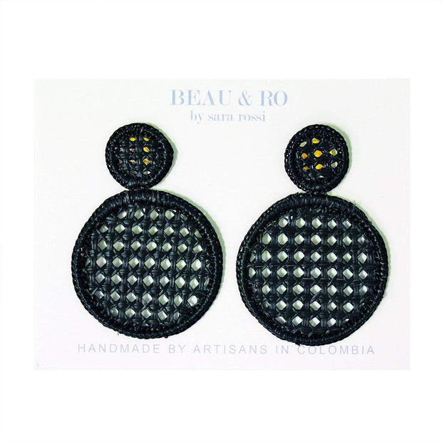 Beau & Ro Bag Company Earrings The Palm | Cane Earrings - Black
