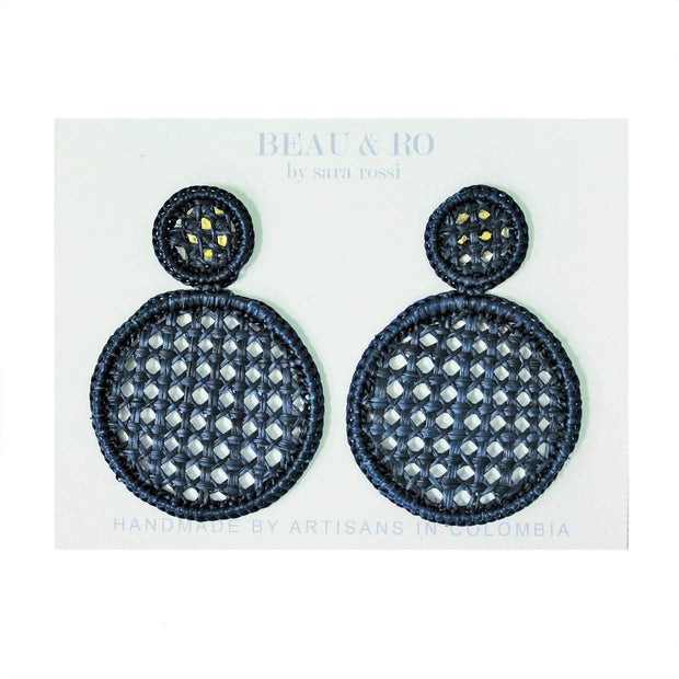 Beau & Ro Bag Company Earrings The Palm | Cane Earrings - Navy