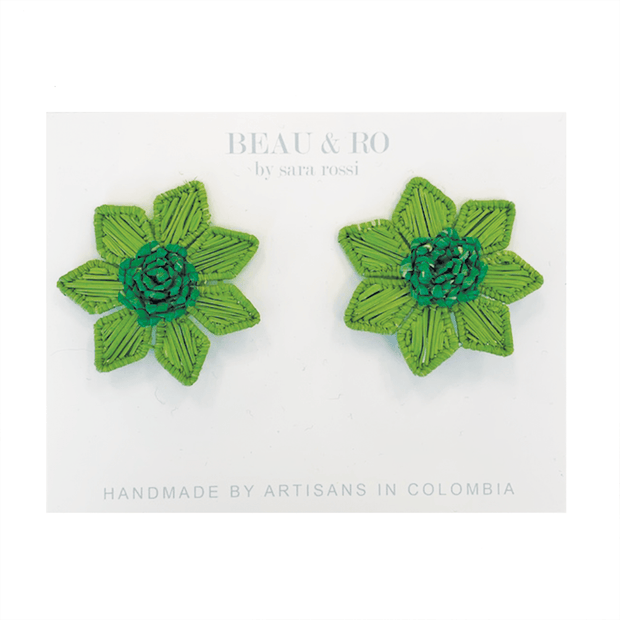Beau & Ro Bag Company Earrings The Palm | Flower Earrings - Green