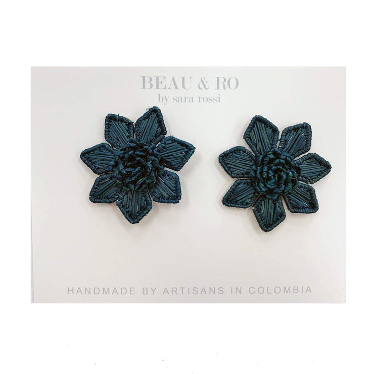 Beau & Ro Bag Company Earrings The Palm | Flower Earrings - Navy
