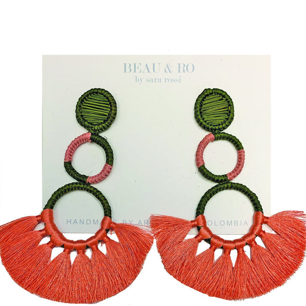 Beau & Ro Bag Company Earrings The Palm | Funky Snowman Earrings - Green & Pink