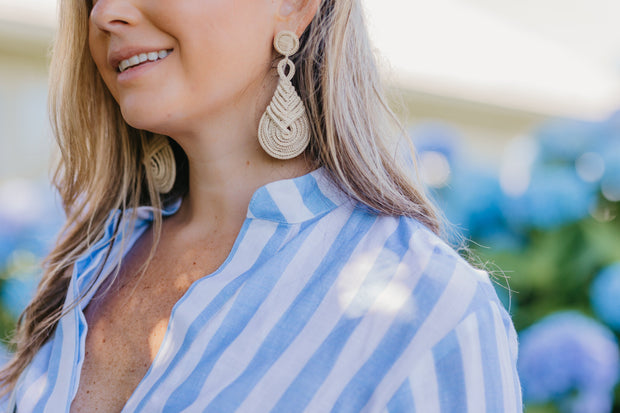 Beau & Ro Bag Company Earrings The Palm | Knot Earrings - Navy