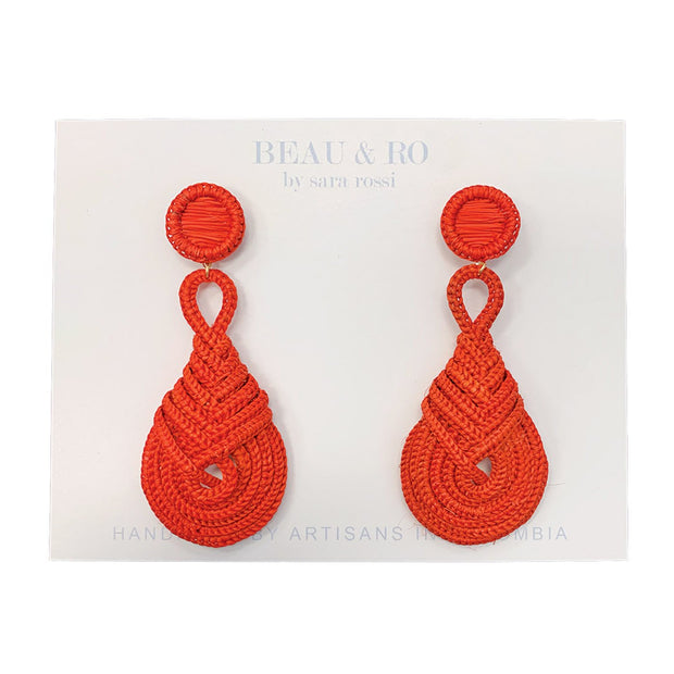 Beau & Ro Bag Company Earrings The Palm | Knot Earrings - Red