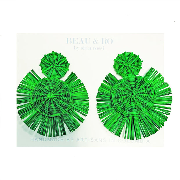 Beau & Ro Bag Company Earrings The Palm | Round Earrings - Green