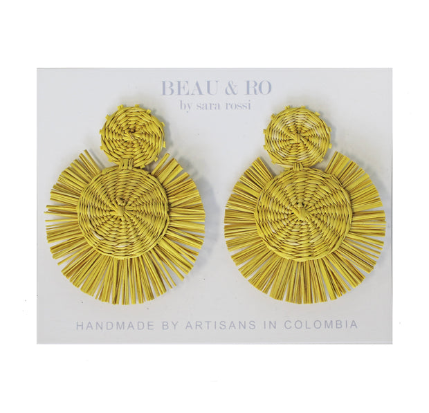 Beau & Ro Bag Company Earrings The Palm | Round Earrings - Yellow