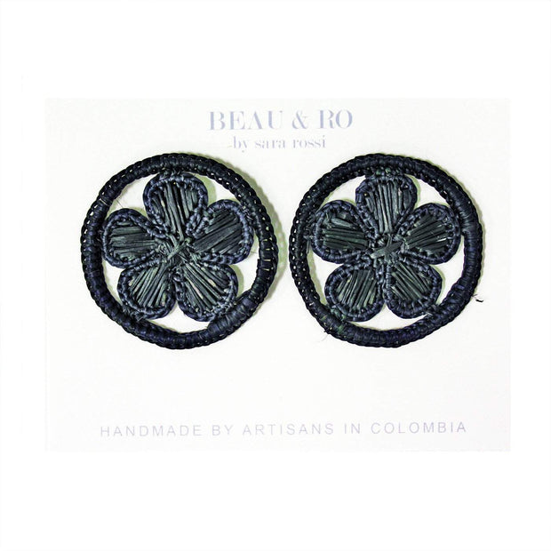 Beau & Ro Bag Company Earrings The Palm | Round Flower Earrings - Black