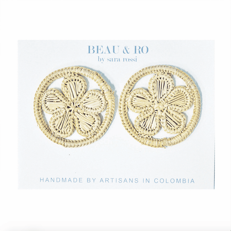 Beau & Ro Bag Company Earrings The Palm | Round Flower Earrings - Natural