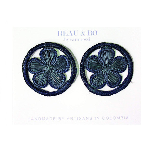 Beau & Ro Bag Company Earrings The Palm | Round Flower Earrings - Navy