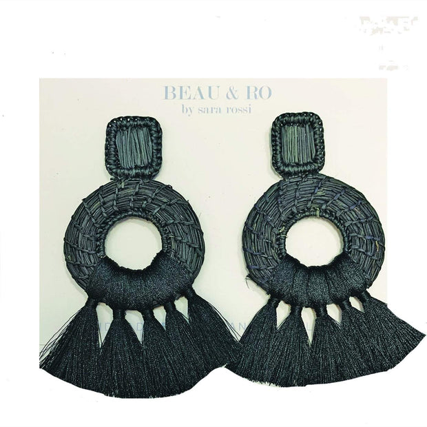 Beau & Ro Bag Company Earrings The Palm | Tassel Earrings - Black