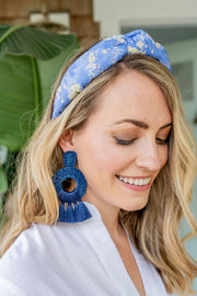 Beau & Ro Bag Company Earrings The Palm | Tassel Earrings - Navy