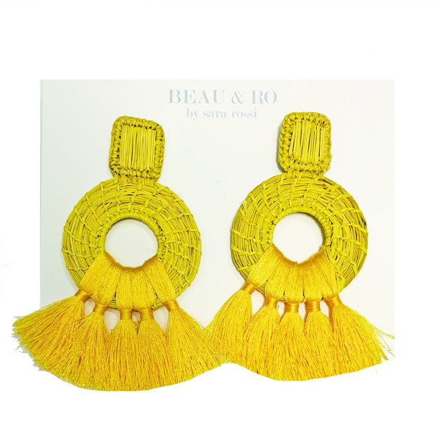 Beau & Ro Bag Company Earrings The Palm | Tassel Earrings - Yellow