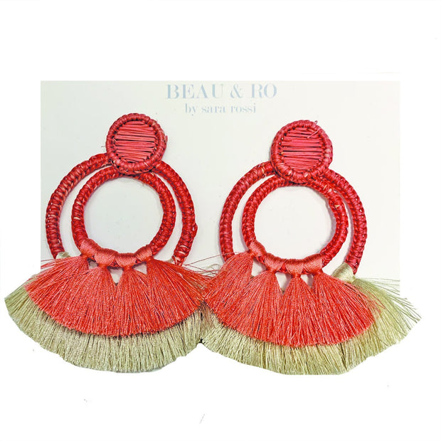 Beau & Ro Bag Company Earrings The Palm | Two Loop Earrings - Blush Pink