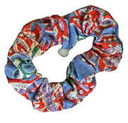 Beau & Ro Bag Company Scrunchie | Indian Block Print - Blue & Orange