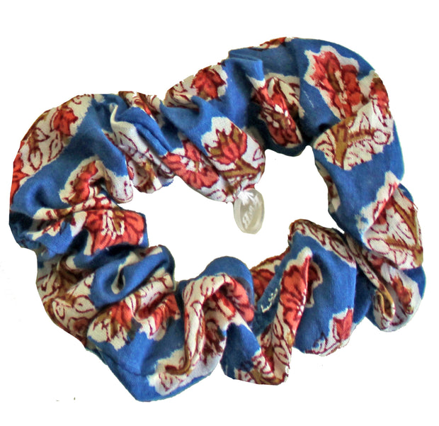 Beau & Ro Bag Company Scrunchie | Indian Block Print - Blue & Red