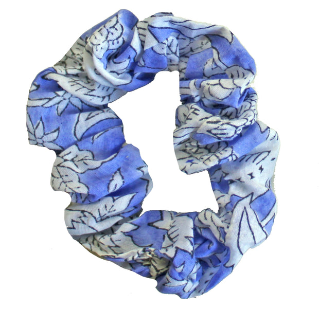 Beau & Ro Bag Company Scrunchie | Indian Block Print - Blue & White
