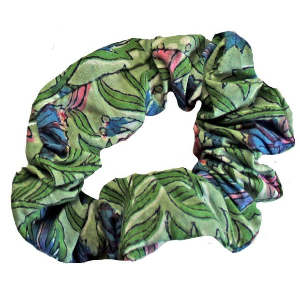 Beau & Ro Bag Company Scrunchie | Indian Block Print - Green
