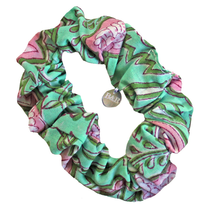 Beau & Ro Bag Company Scrunchie | Indian Block Print - Green & Pink