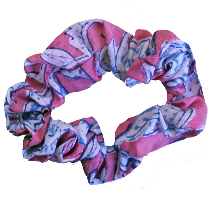 Beau & Ro Bag Company Scrunchie | Indian Block Print - Pink & Blue