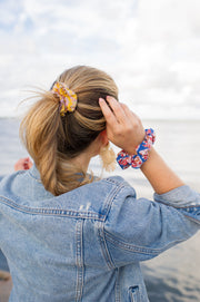 Beau & Ro Bag Company Scrunchie | Indian Block Print - Pink & Orange
