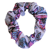 Beau & Ro Bag Company Scrunchie | Indian Block Print - White & Pink