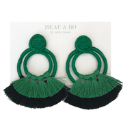 Beau & Ro Bag Company The Palm | Double Loop Earrings - Green