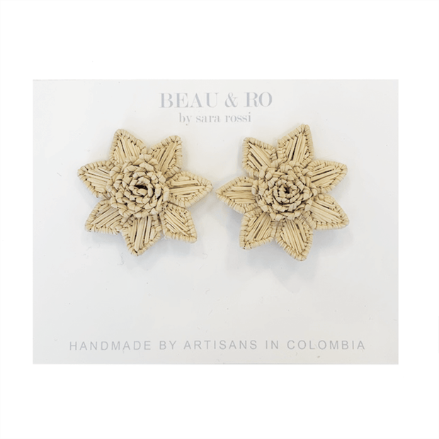 Beau & Ro Bag Company The Palm | Flower Earrings - Natural