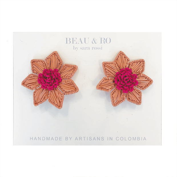 Beau & Ro Bag Company The Palm | Flower Earrings - Pink