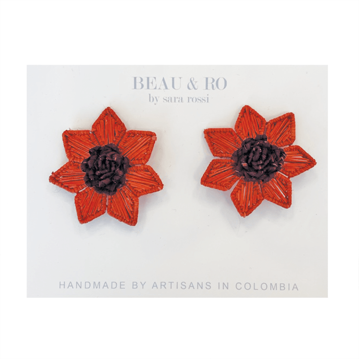 The Palm | Flower Earrings - Red