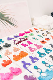 Beau & Ro Bag Company The Palm | Funky Snowman Earrings - Natural