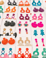 Beau & Ro Bag Company The Palm | Funky Snowman Earrings - Pink & Turquoise