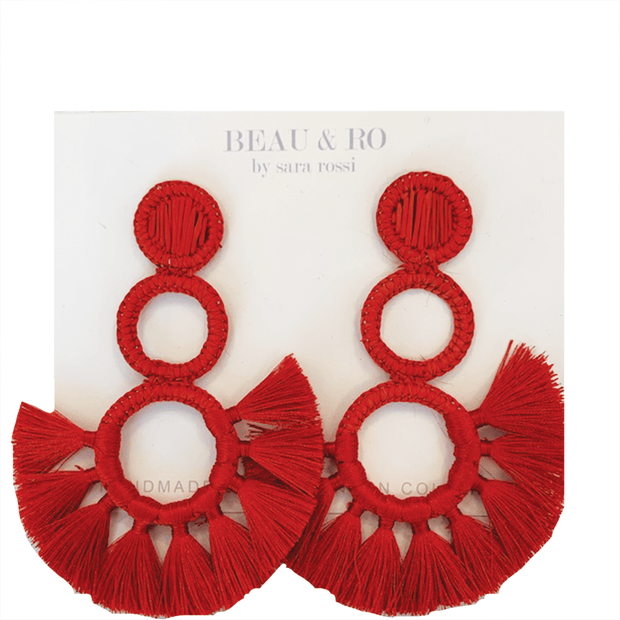 Beau & Ro Bag Company The Palm | Funky Snowman Earrings - Red