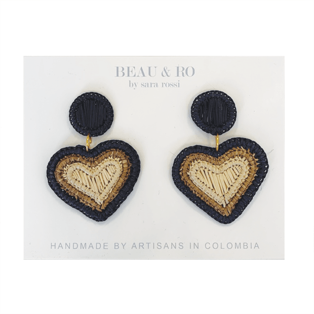 Beau & Ro Bag Company The Palm | Heart Earrings - Black