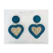 Beau & Ro Bag Company The Palm | Heart Earrings - Blue