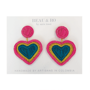 Beau & Ro Bag Company The Palm | Heart Earrings - Rainbow