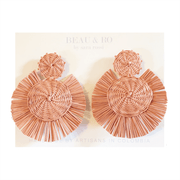 Beau & Ro Bag Company The Palm | Round Earrings - Blush Pink