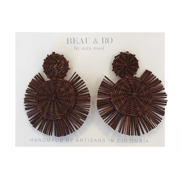 Beau & Ro Bag Company The Palm | Round Earrings - Brown