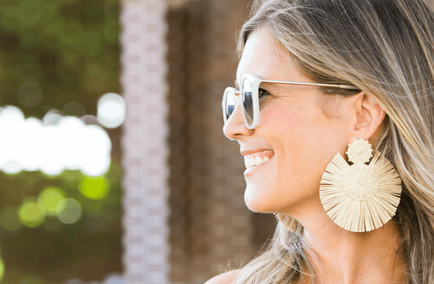 Beau & Ro Bag Company The Palm | Round Earrings - Maroon