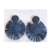 Beau & Ro Bag Company The Palm | Round Earrings - Navy