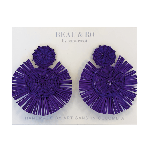 Beau & Ro Bag Company The Palm | Round Earrings - Purple