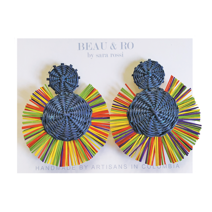 Beau & Ro Bag Company The Palm | Round Earrings - Rainbow Navy