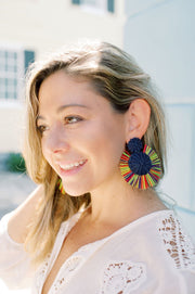 Beau & Ro Bag Company The Palm | Round Earrings - Rainbow Pink