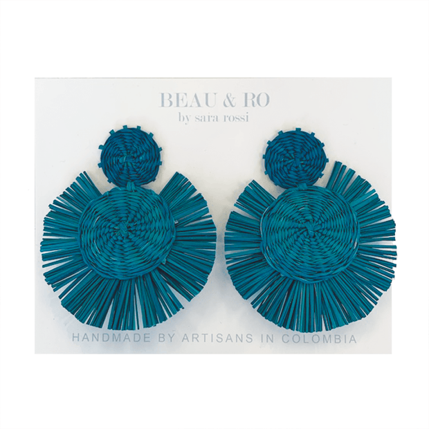 Beau & Ro Bag Company The Palm | Round Earrings - Turquoise