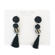 Beau & Ro Bag Company The Palm | Small Ball Earrings - Black Tassel